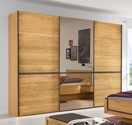 MUSTERRING Schwebetüren-Kleiderschrank Sorrent mit seitlichen Holztüren
