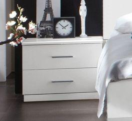 Geradliniger Nachttisch Manati in schlichtem Weiß