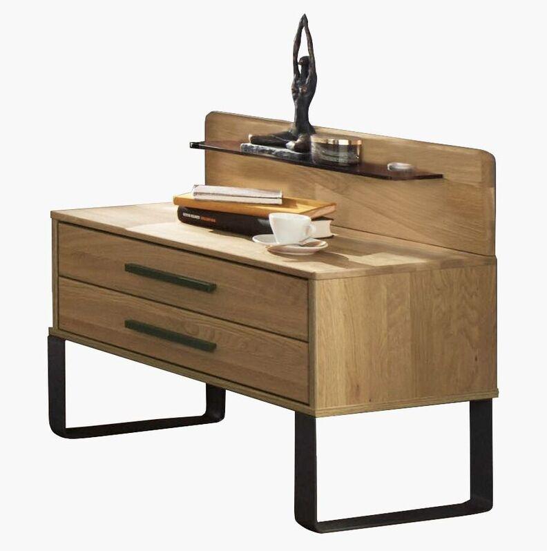 Nachttisch Vitoria mit Schubladen und Paneel mit Glasablage