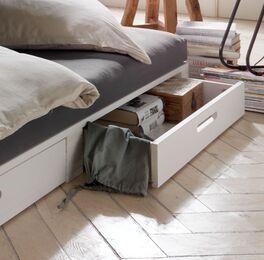 Palettenbett Bassa mit seitlichen Schubladen