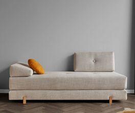 Graue Relaxliege Yorkshire mit stylischen Holzfüßen