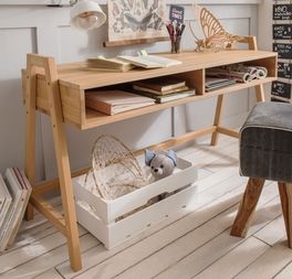 Retro-Schreibtisch Kids Fantasy höhenverstellbar aus robustem Massivholz