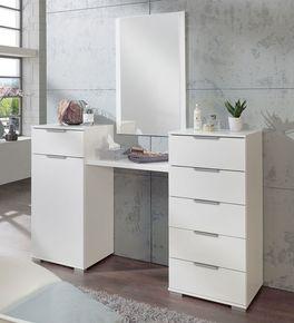 Schmink-Kommode Belcastro in alpinweißem Dekor mit Spiegel