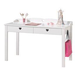 Weißer Schreibtisch Asami mit Herz-Fräsungen