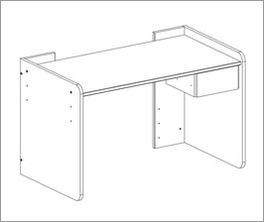 Grafik zum kinderfreundlich höhenverstellbarem Schreibtisch