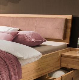 Schubkasten-Bett Aurachs Kopfteilpolster aus braunem Kunstleder