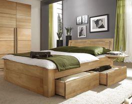 Schubkasten-Doppelbett Andalucia aus Buche mit ruhiger Maserung