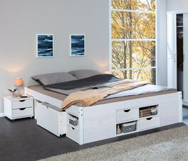 Schubkasten-Doppelbett Göteborg als Stauraum Multitalent