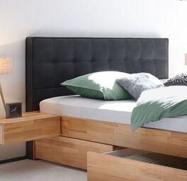 Schubkasten-Doppelbett Mirenda mit Kopfteil in Komforthöhe