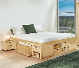 Schubkasten-Doppelbett Oslo aus massiver Kiefer
