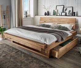 Rustikales Schubkastenbett Romeno aus Echtholz