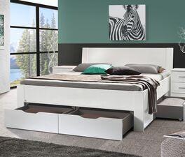 Modernes Schubkastenbett Siberio in Hochglanz Weiß