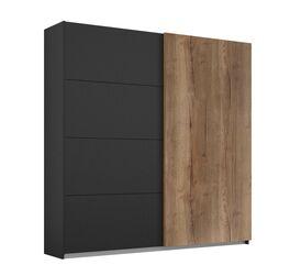 Zweifarbiger Schwebetüren-Kleiderschrank Azra in Holzoptik