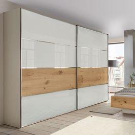 Schwebetüren-Kleiderschrank Briston mit weißer Glas-Front