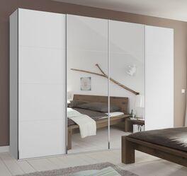 Moderner Schwebetüren-Kleiderschrank Eleisa mit Spiegel in Weiß