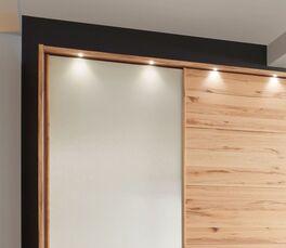 Schwebetüren-Kleiderschrank Leandra mit beleuchtetem Holzrahmen