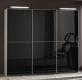 Schwebetüren-Kleiderschrank Madison mit schwarzem Hochglanz-Glas