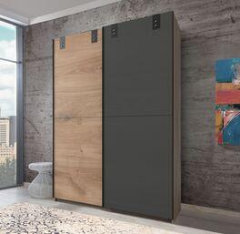 Schwebetüren-Kleiderschrank Nolan mit graphitfarbener Tür