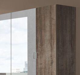 Schwebetüren-Kleiderschrank Ovatio mit alufarbenen Kunststoff-Griffen