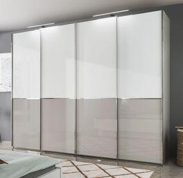 Schwebetüren-Kleiderschrank Shanvalley mit leichtgängigen Glastüren