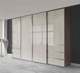 Stabiler Schwebetüren-Kleiderschrank Tunica mit Glasfronten