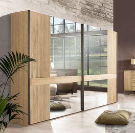 Schwebetüren-Kleiderschrank Vitoria in Eiche Dekor mit Spiegeln