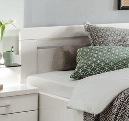 Schubkasten-Doppelbett Calimera mit silberfarbenen Kunststoff-Zierleisten