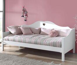 Weißes Sofabett Asami mit Herz-Fräsungen