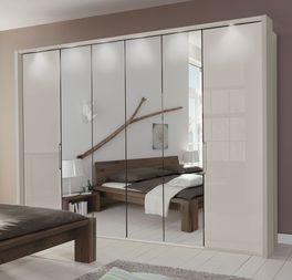 Spiegel-Falttüren-Kleiderschrank Northville mit äußerer Glasfront