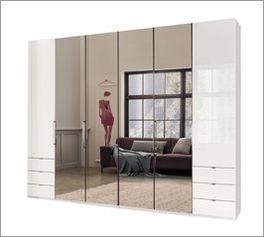 Spiegel-Kleiderschrank Westville mit weißen Glas Türen