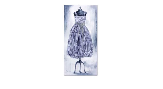 wandbild mit kleid als relief aus stoff dress grau. Black Bedroom Furniture Sets. Home Design Ideas