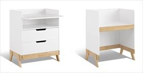 Wickelkommode Monina in Weiß aus Birke umbaubar zum Schreibtisch