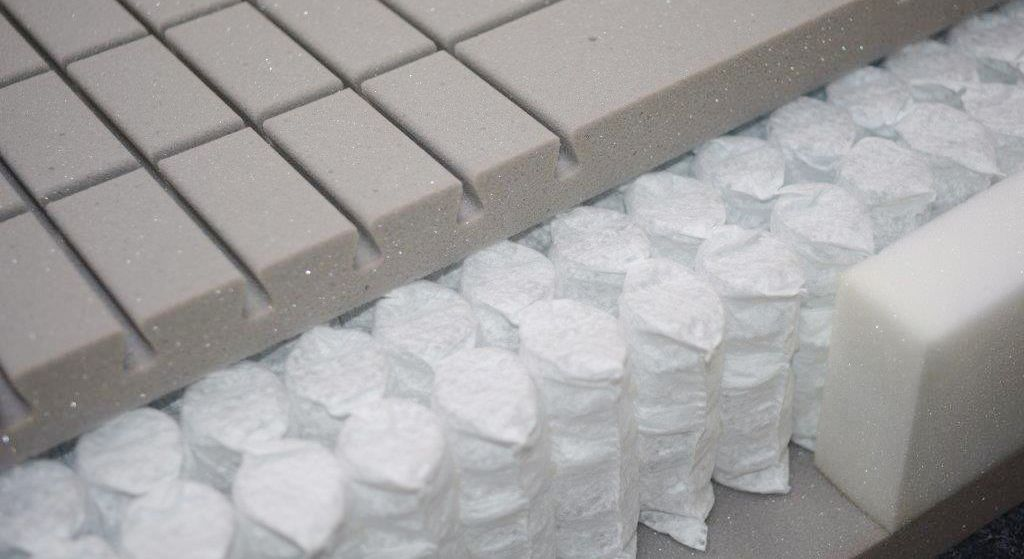 Querschnitt der Tonnentaschen-Federkern-Matratze orthowell 1000