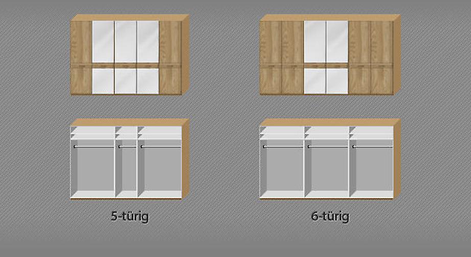 Verteilung von Spiegeln und Holzfronten beim Drehtüren-Kleiderschrank Agaro