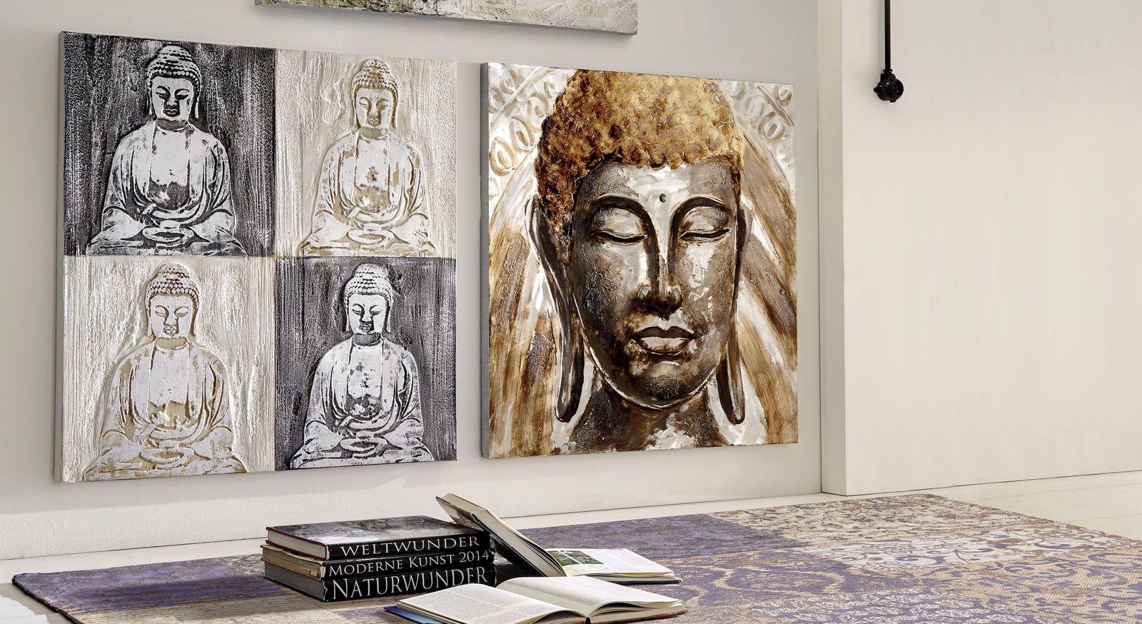 Handgefertigtes Wandbild Buddha in Kupfertönen