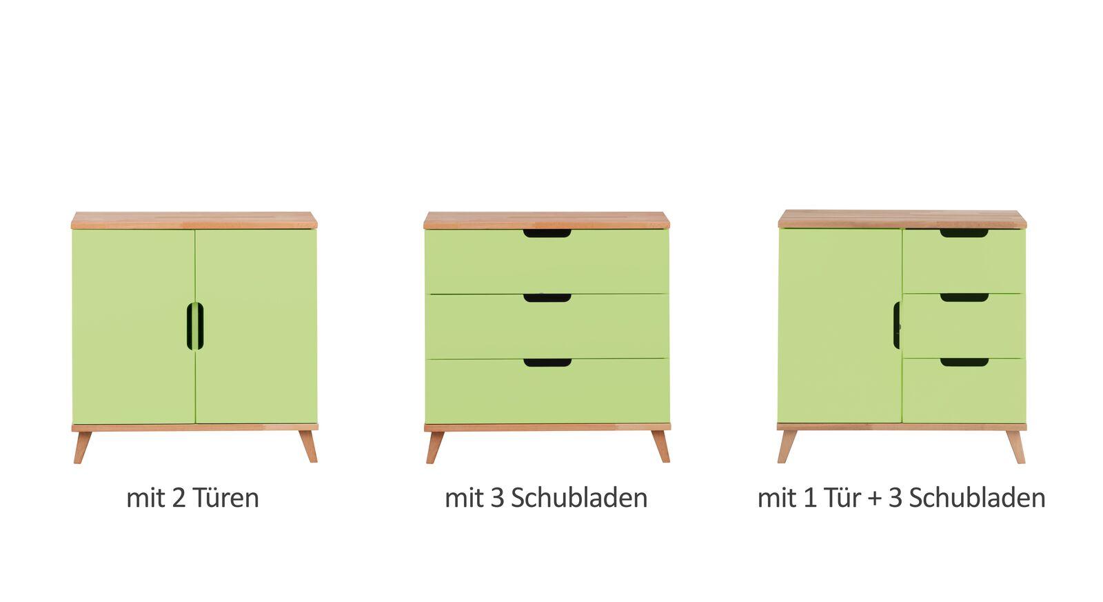 Alle Varianten der Wickelkommode Kids Nordic in Grün