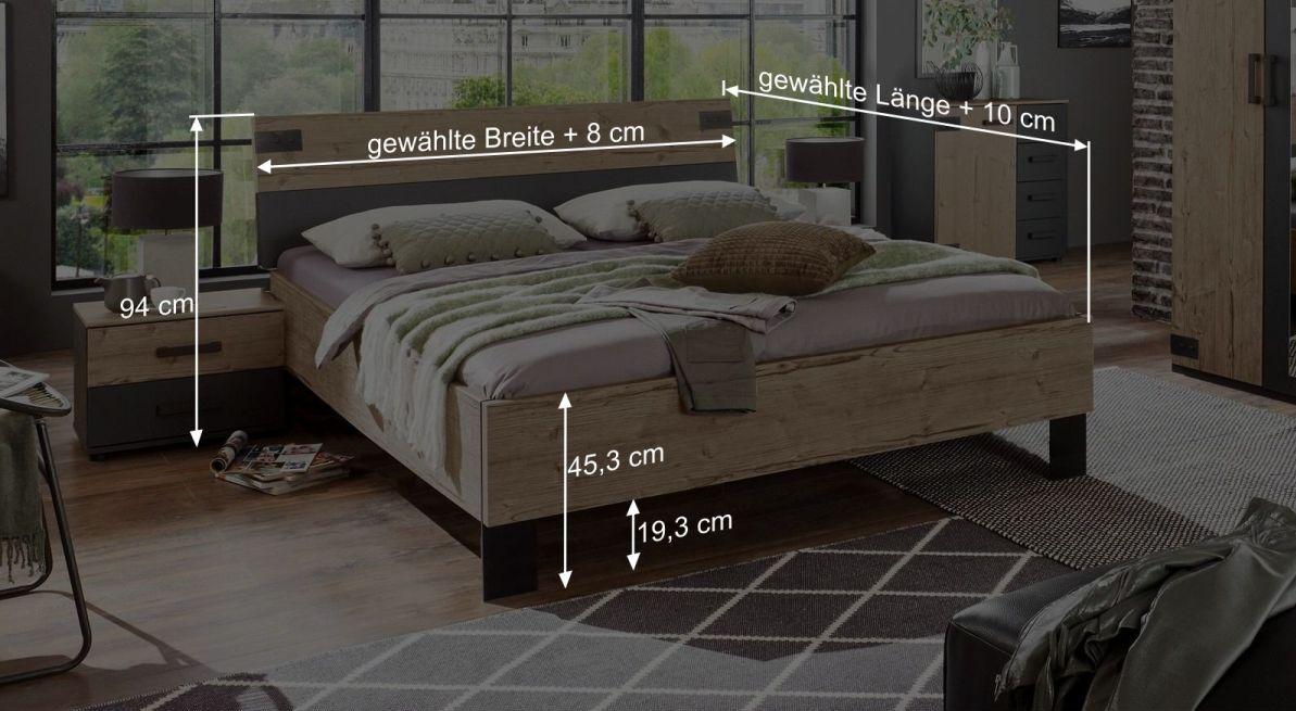 Bemaßungsgrafik zum zweifarbigen Bett Midori
